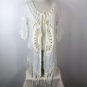 NWT Boho Fringe Sunburst Crochet Kimono